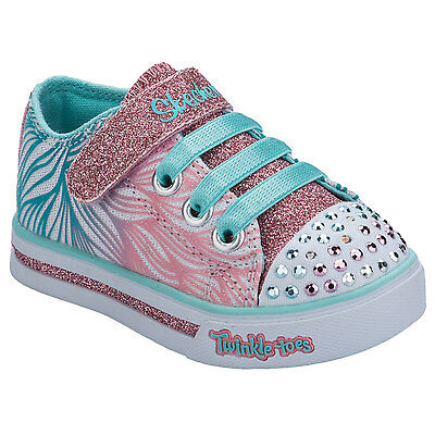 Infant Girls Skechers Sparkle Glitz Twinkle Toes Trainers In White