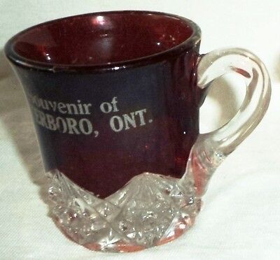 Ruby Stained EAPG Small Pitcher Souvenir Peterboro Ontario Gold Trim