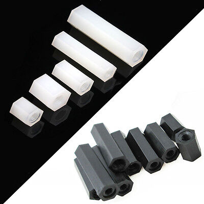 Plastic Spacer Nylon Hexagonal Pillar Nut Double Pass Tapped Spacer White Black