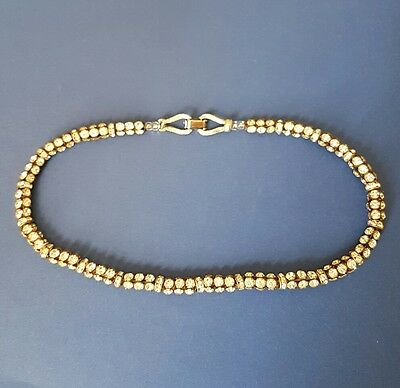 Unusual Vintage Clear Glass Paste Stone Rhinestone Necklace