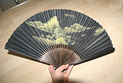 Vintage Finest Carved Brown Wood Hand Painted Japanese Fan