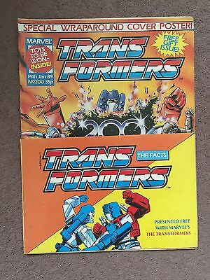 Transformers Comic Marvel Uk #200 With Free Gift Fact Book Attached
