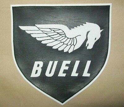 Buell Pegasus Shield 10 inch back patch b/w. Synthetic leather. Nice.NEW