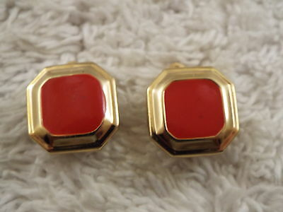 Square Red Button Goldtone Clip-on Earrings (C16)