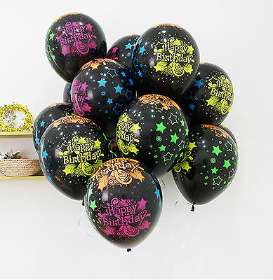 "11"" Black Happy Birthday Stars Neon Balloons B-day Party Helium or air"