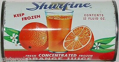 Vintage tin SHURFINE ORANGE JUICE with pic Central Grocers Northlake Illinois