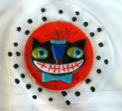 Rare mint Dept 56 fused glass SCARDY CAT 6 inch plate Halloween