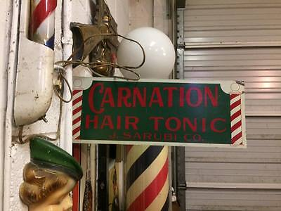 Vintage Carnation Barber Pole Hair Tonic Double Sided Metal Flange Sign