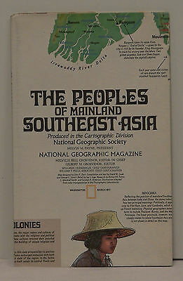 Vintage 1971 National Geographic Map of the People of Mainland Southeast Asia