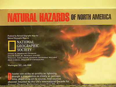 Vintage 1998 National Geographic Map Natural Hazards of North America