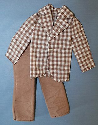 Vtg 1973 Ken Doll Barbie Mod Hair #4224 Brown Checkered Shirt Pants Suit Outfit
