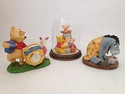 3 X Winnie The Pooh / Eeyore / Piglet Ornaments. Simply Pooh. Clock And Dome