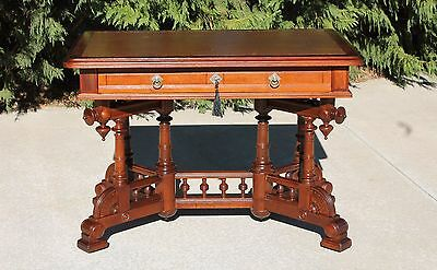 Aesthetic Victorian Walnut & Burl Leather Top Writing Desk Library Table w Key