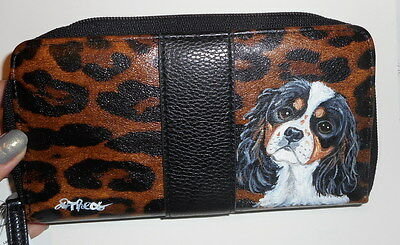 Cavalier King Charles Spaniel dog Hand Painted Ladies Leather Designer  Wallet