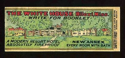 Vintage 1930'S Matchbook Cover The White House Hotel Biloxi Mississippi