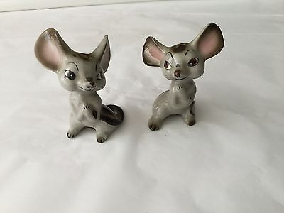 Vintage Japan  Porcelain Mouse  Salt and Pepper big ears