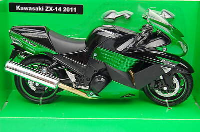 KAWASAKI NINJA  ZX-14  2011 1/12th NEWRAY MODEL MOTORCYCLE  BLACK with GREEN