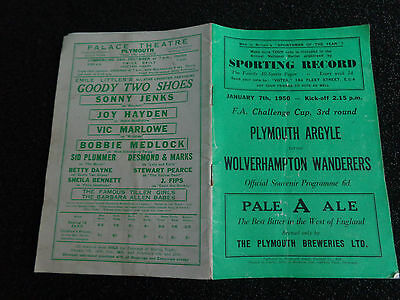 PLYMOUTH ARGYLE v WOLVERHAMPTON WANDERERS WOLVES FA CUP 1949/50 slight fold
