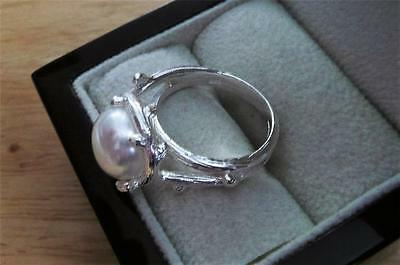 925 Sterling Silver Round White Freshwater Pearl Designer Ring Size R Us 9