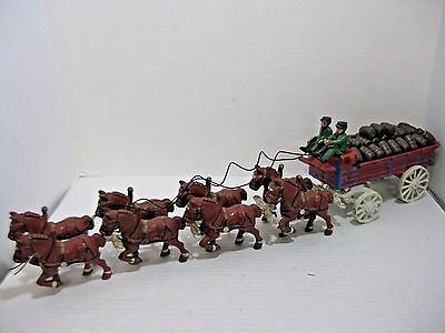 Vintage Cast Iron 8 Clydesdale Horse Drawn Wagon With Barrels
