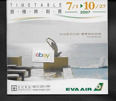 Eva Air Taiwan Roc System Timetable Hello Kitty-Route Map-Seatting Charts 7/2007