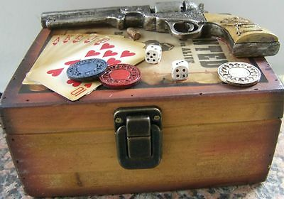 Western Gambler WOODEN BOX DECORATED with Chips, Dice, Cards, Gun, Bullet