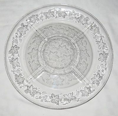 "Divided 13"" Glass Christmas Snack Plate with Poinsettia pattern"