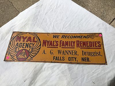 Vintage NYAL Agency We Recommend NYAL'S Family Remedies Tin Sign