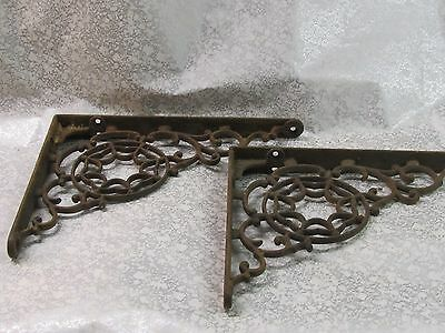 2 Vintage Cast Iron Brackets 9 X 7 great condition