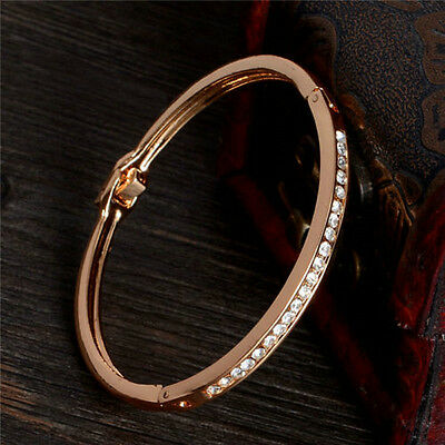 Exquisite Gold Plated Stainless Steel Cuff Bangle Jewelry Crystal Women Bracelet