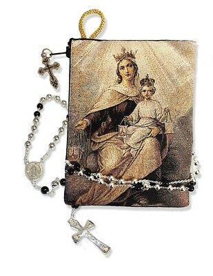 Blessed Virgin Mary Our Lady of Mount Carmel Tapestry Icon Rosary Pouch 5 3/8""