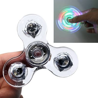 Transparent Crystal Led Light Fidget Finger Spinner Rainbow Hand Stress EDC Toy