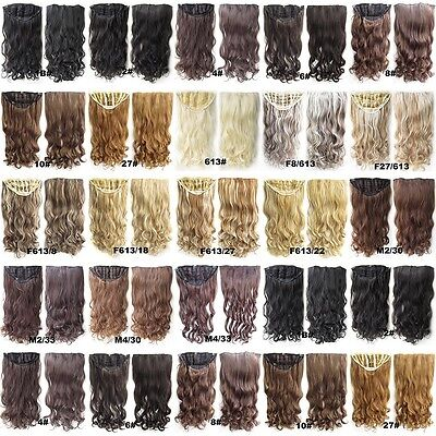 Clip In Long Wavy Curly 7 Clips One Piece Elastic Net Hairpiece Hair Extensions