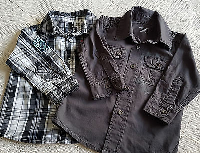 PUMPKIN PATCH & COTTON ON, 2 x BABY BOY'S SHIRTS ~ Sz 12mth to 2 yr ~ EXC COND!