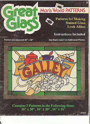 Stained Glass 3 Patterns Book Man's World Series Galley Moose Parrot Oop