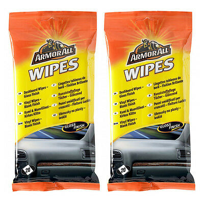 2 x Armorall Car Interior Dashboard Cleaner Protector Wipes (40) - Gloss Finish