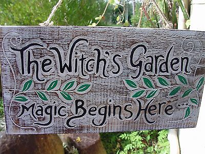 WITCH'S GARDEN WOODEN SIGN PLAQUE 400 x 200 mm Wicca Pagan Witch Goth