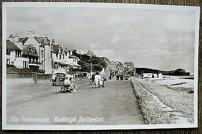 The Promenade, Budleigh Salterton, Devon. Real Photo Old Postcard.