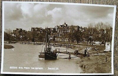 Rye, From The Rother, Sussex.  Real Photo,  Old Postcard.