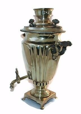 Samovar Russian Brass Antique Tea Hand Teapot Pot Soviet Rare Tray Urn Tula 19th