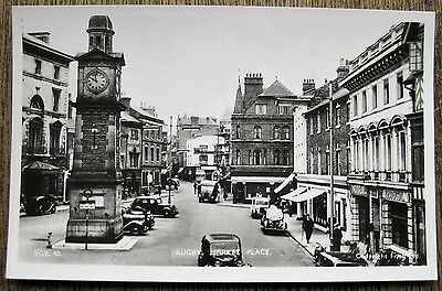 Rugby, Market Place, Warwickshire. Real Photo Old Postcard.