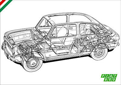 Fiat 850 Detailed Cutaway Retro A3 Poster Print Of The Fiat 850