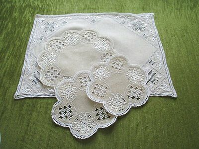 Vintage Tray Cloth & 3 Mats - Lefkara Hand Embroidery