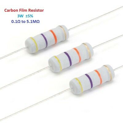 100pcs 3W Carbon Film Resistor - Full Range of Values ( 0.1Ω to 5.1MΩ )