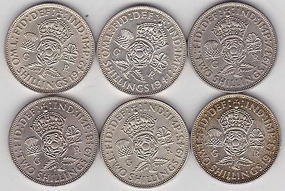 1937/1941/1942/1943/1945 & 1948 George Vi Florins In Near Extremely Fine