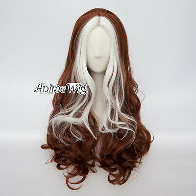 Unique Lolita Women 60CM White Mixed Brown Long Curly Anime Cosplay Wig+Cap