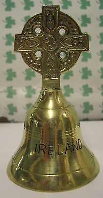 IRELAND Irish Brass Hand Crafted CELTIC CROSS BELL LARGE