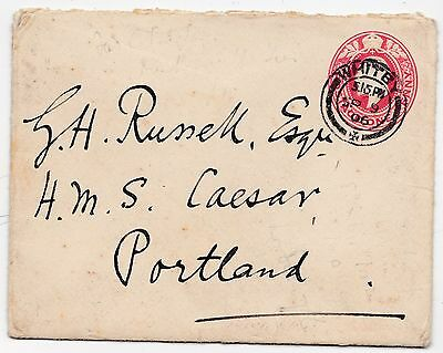* 1906 Whitby Postal Stationery Cover To G H Russell Hms Caesar At Portland