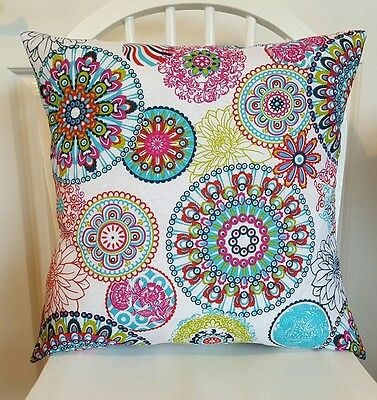 "Handmade Cushion Cover - Mandala pattern, multi coloured, 16"" x 16"""
