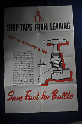 WW2 Save Fuel for Battle Stop Taps From Leaking  UK Home Front Poster